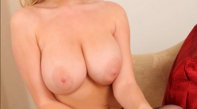 Amazing beautiful blonde with huge tits