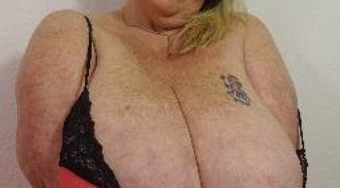Old lady with gigantic tits